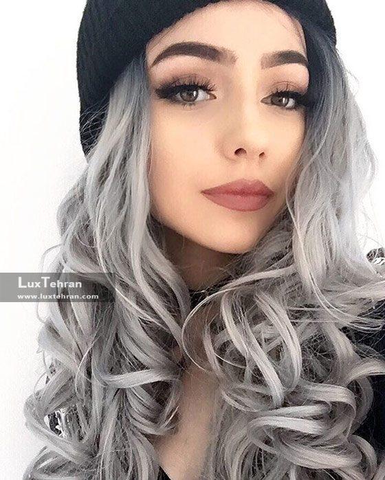 رنگ مو دودی با تکنیک آمبره مو