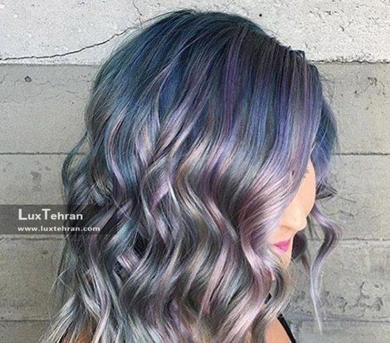 رنگ موی پری دریایی با سایه های نقره ای و صورتی