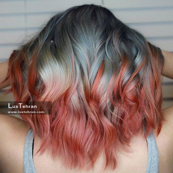 ترکیب خواستنی رنگ موی خاکستری نقره ای قرمز آتشین و دودی