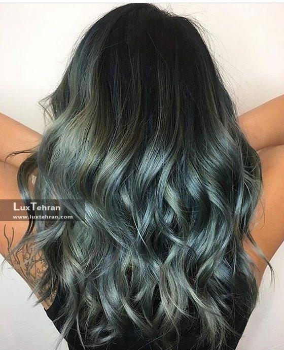 رنگ موی هایلایت آبی دودی و نقره ای