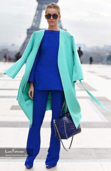 ترکیب رنگ لباس لاجوردی و فیروزه ای