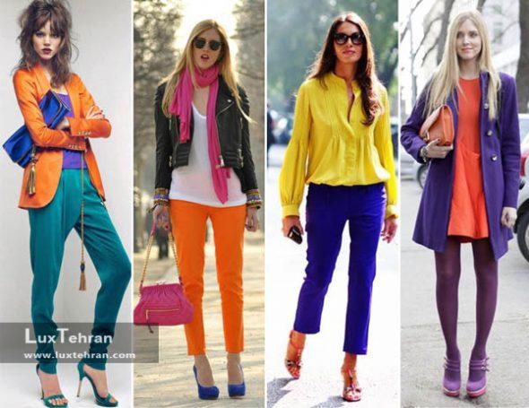 ترکیب رنگ لباس زنانه رنگ های شاد