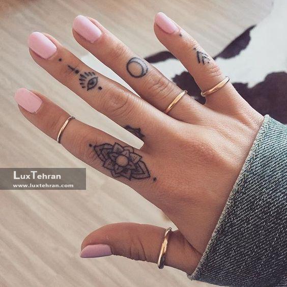 مدل تاتو سنتی هندی روی انگشت