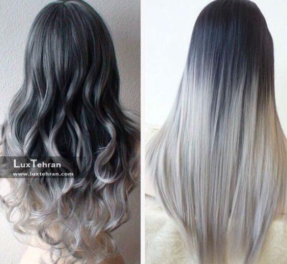 رنگ مو دودی روشن آمبره روی موهای صاف و موجدار