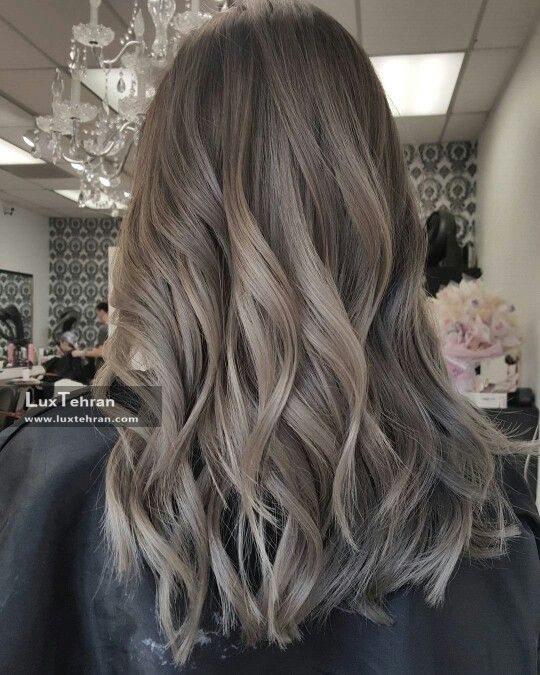 رنگ موی دودی زیتونی با هایلایت