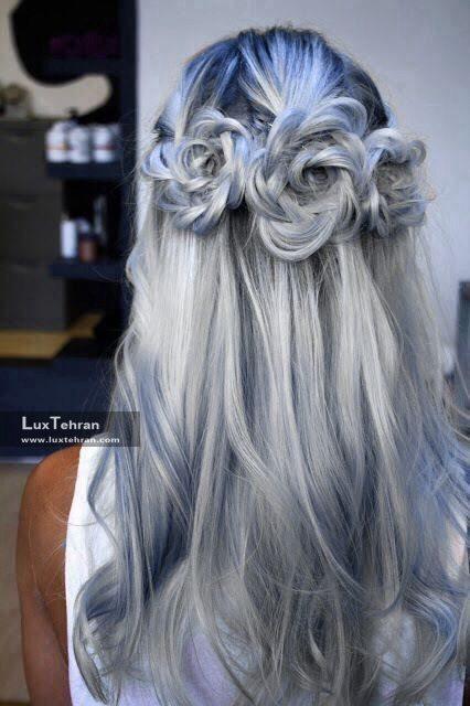 رنگ مو دودی نقره ای با رده های آبی