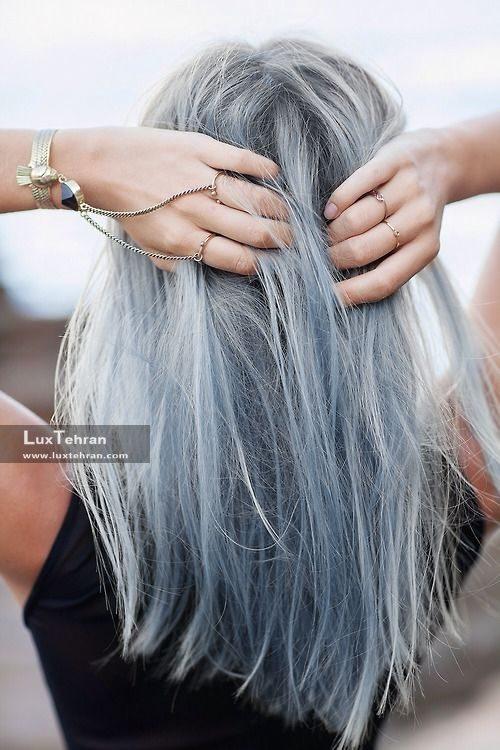 مدل رنگ مو دودی نقره ای