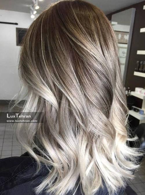 رنگ موی دودی زیتونی امبره بلوند