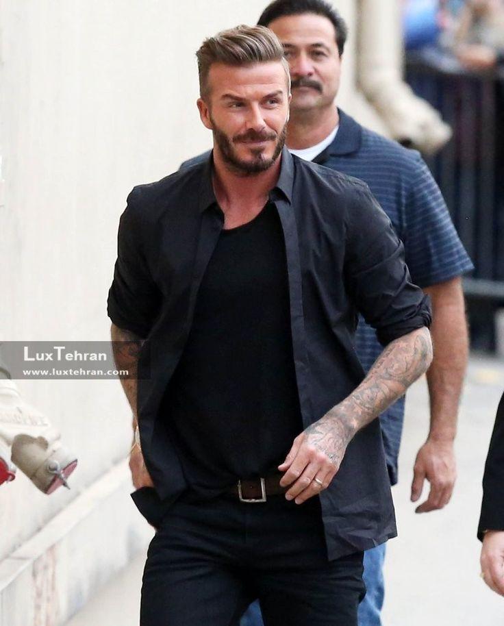 استایل خیابانی عکس دیوید بکهام با پیراهن و تیشرت ساده و مشکی رنگ