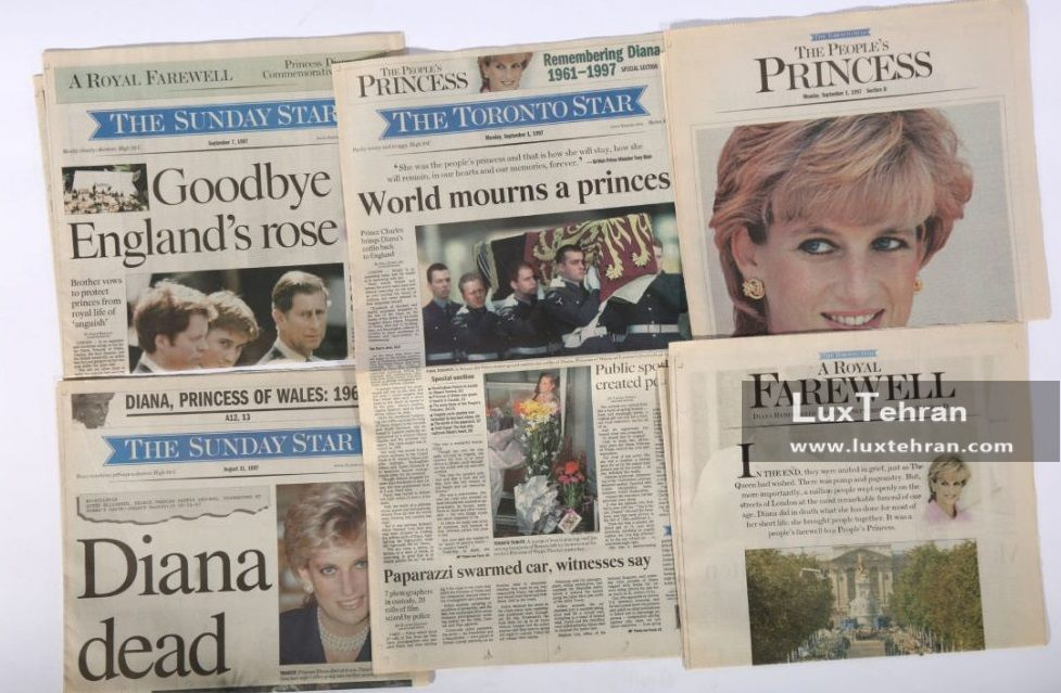 تصویری از روی جلد روزنامه های معروف جهان در روز مرگ شاهدخت ولز