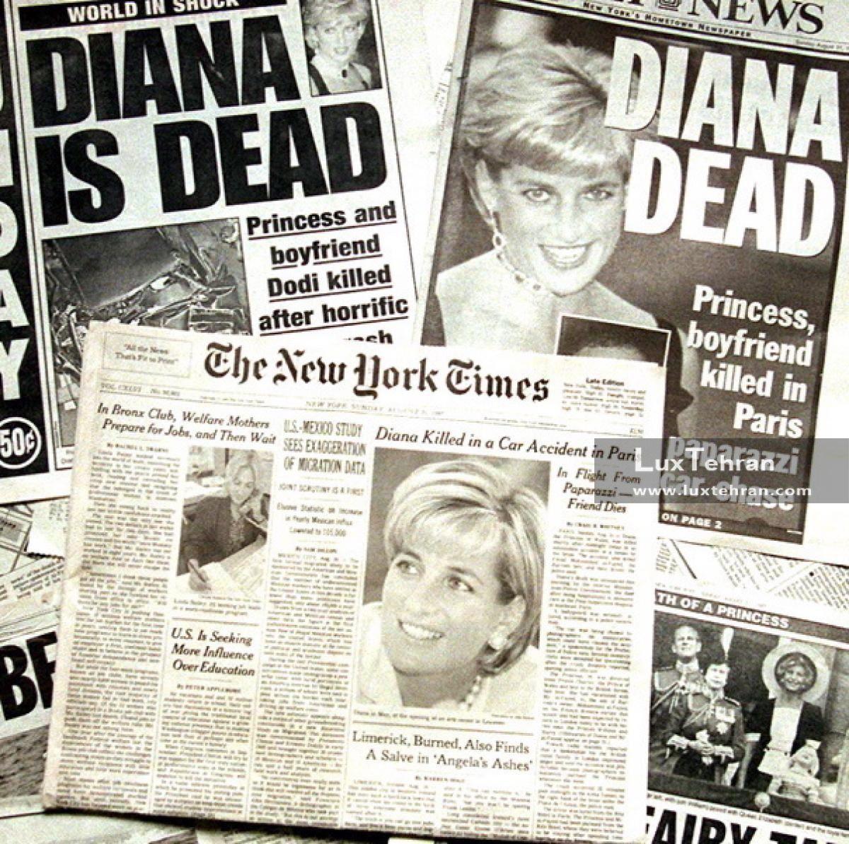 (سرتیتر رسانه های مهم جهان مانند نیویورک تایمز آمریکا در فردای روز کشته شدن پرنسس دایانا)
