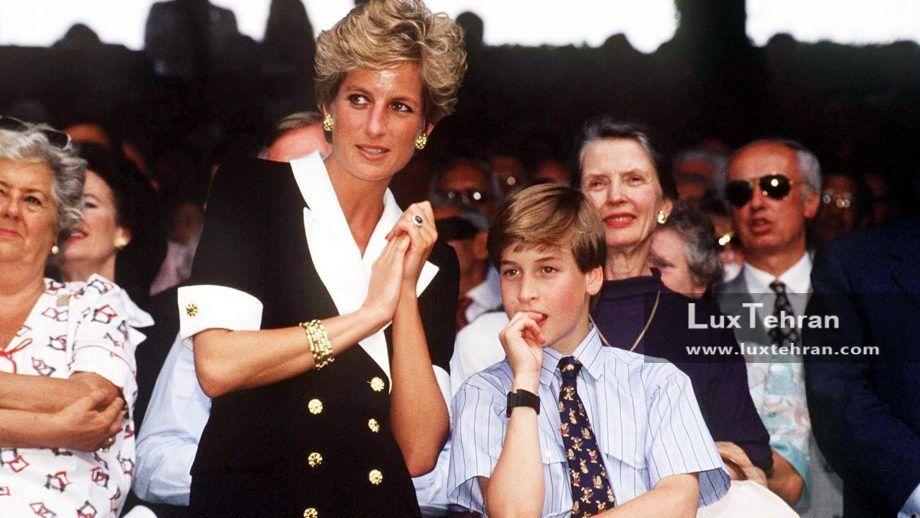 تصویری از لباس سفید و مشکی پرنسس دایانا در کنار همسر کیت میدلتون