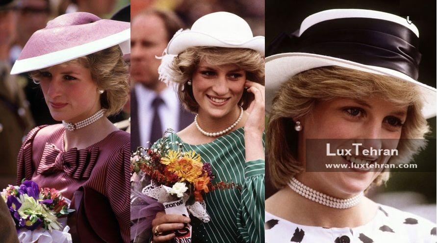 (کلکسیونی از مد و لباس پرنسس دایانا که وی را با ۳ مدل کلاه های رسمی ایشان نشان می دهد)