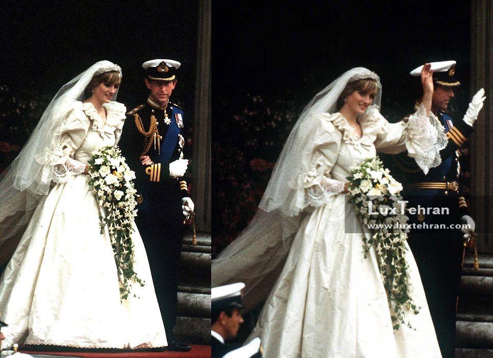 تصویری از عروسی دایانا با پرنس چارلز در ۲۹ جولای ۱۹۸۱ میلادی