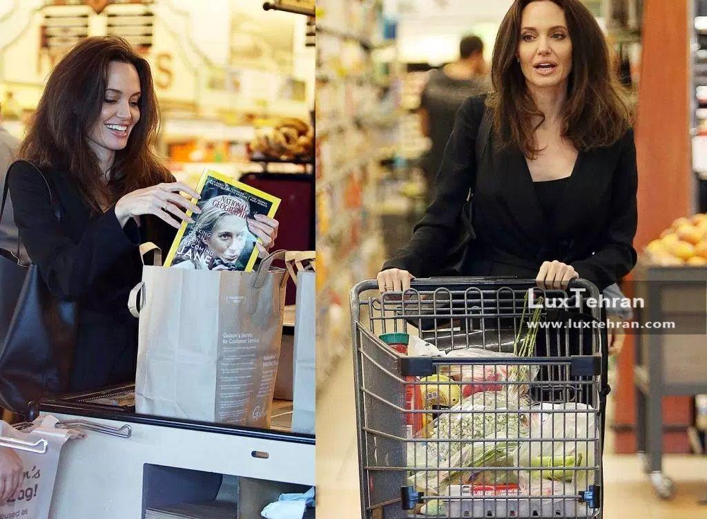 استایل آنجلینا جولی که ایشان را در حال خرید از سوپر مارکت بزرگ بورلی هیلز لس آنجلس