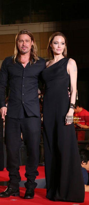 آنجلینا جولی با لباس مشکی بلند که با لباس سراسر مشکی همسر سابقش براد پیت