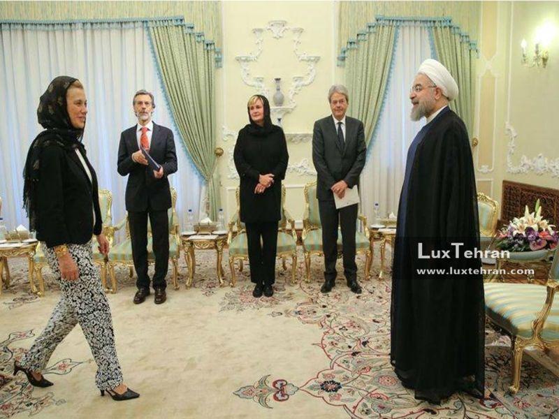 دیدار حسن روحانی، رییس  جمهور با وزیر امور خارجه ایتالیا با پوشش  خاص در تهران زنان سیاستمدار جهان