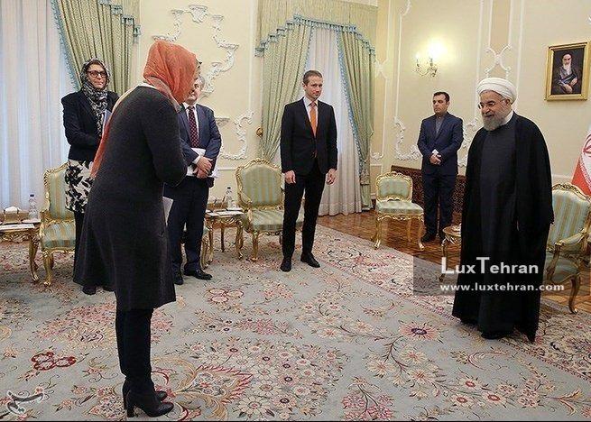 زنان سیاستمدار جهان تصویر دیدار حسن روحانی، رییس جمهور ایران با وزیر امور خارجه دانمارک در تهران