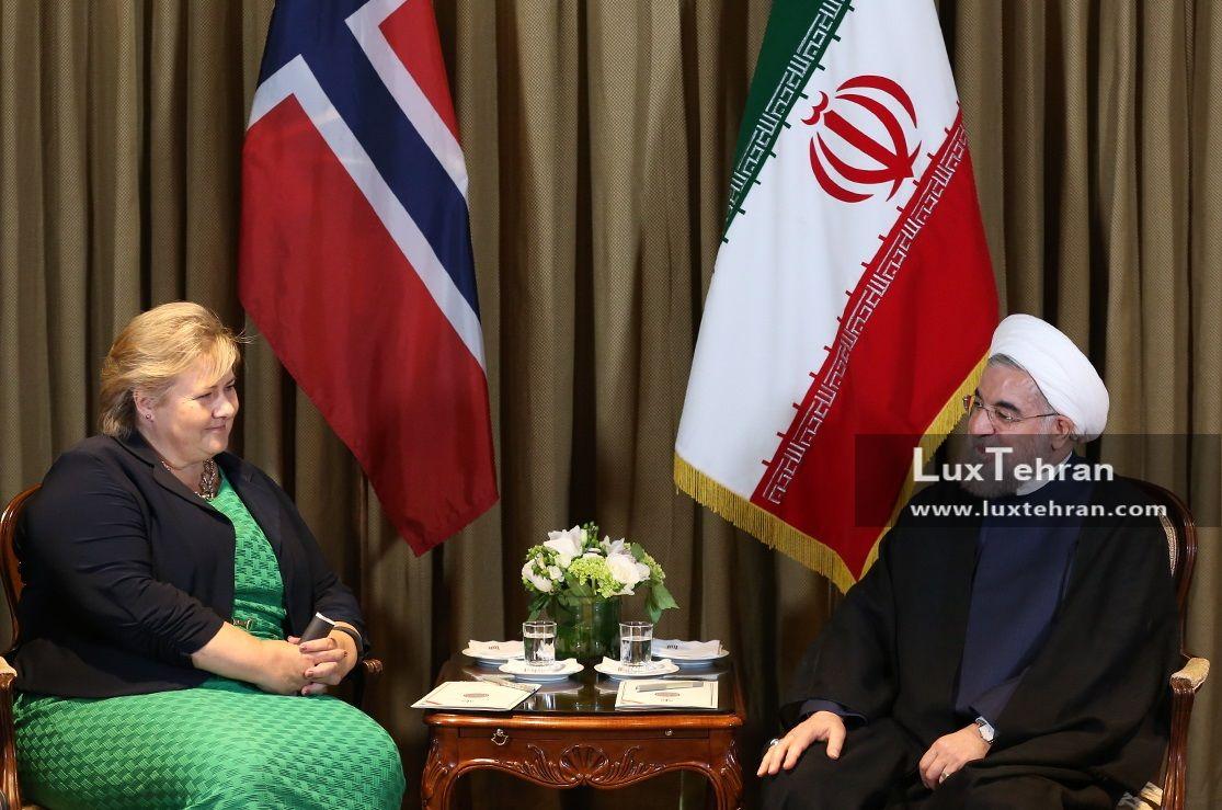 تصویر دیدار حسن روحانی، رییس جمهور ایران با نخست وزیر نروژ زنان سیاستمدار جهان