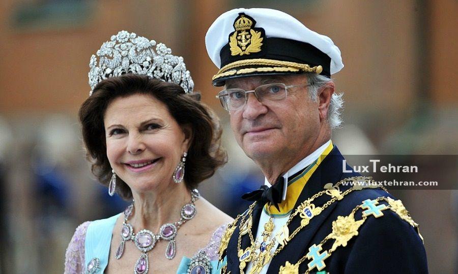 تصویری از کلکسیون طلا و جواهرات سیلویا، ملکه سوئد و کارل گوستاو شانزدهم، پادشاه سوئد زنان سیاستمدار جهان