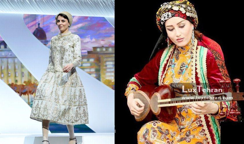 تصویری از لباس سرمه دوزی شده فاخر لیلا حاتمی