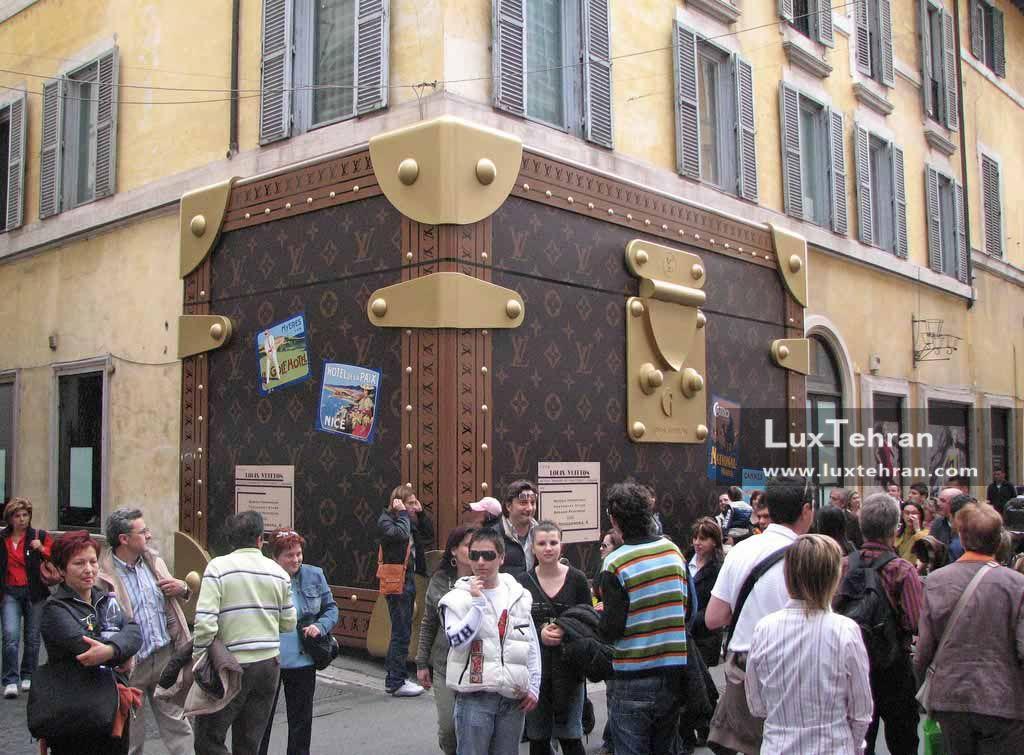 نمایی از چمدان های اولیه لویی ویتون  در رم ایتالیا