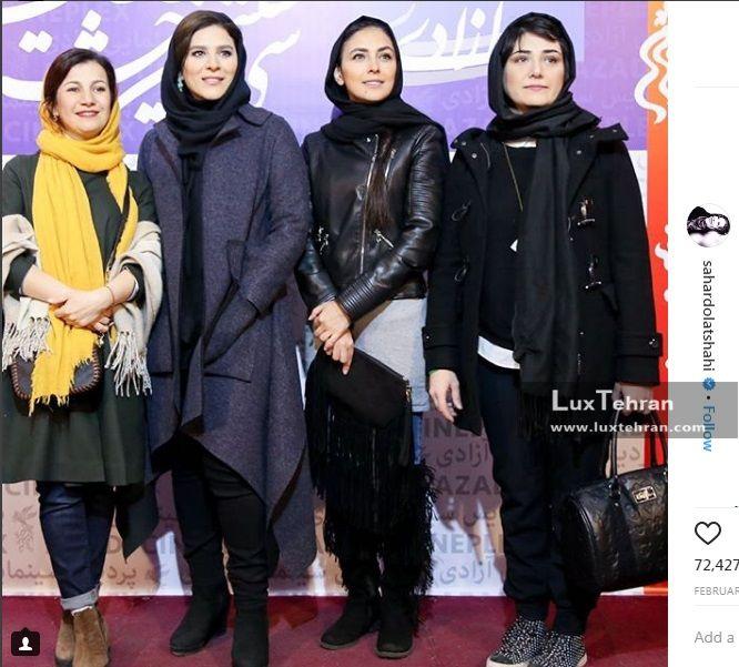سحر دولتشاهی  در کنار باران کوثری و لیلی رشیدی که برای اکران فیلم عرق سرد