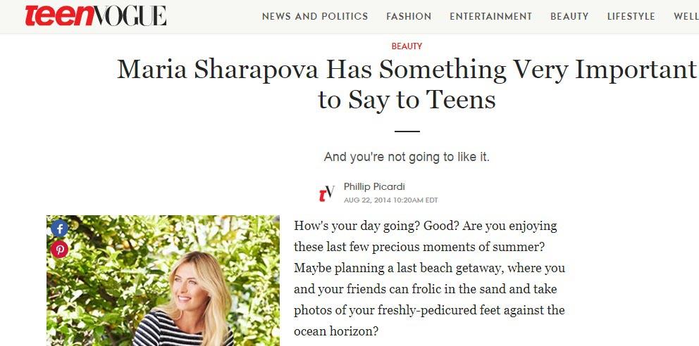توصیه های طلایی شاراپووا به نوجوانان در گفت و گو با VOGUE