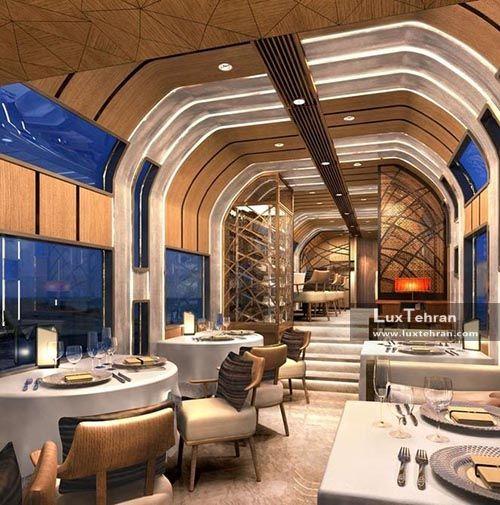 تصویر از سالن غذا خوری قطار ۷ ستاره مجلل ژاپنی