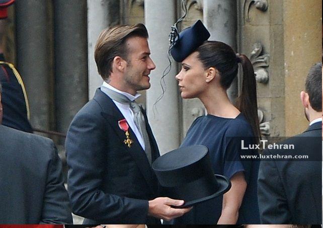 دیوید بکهام و همسرش ویکتوریا در مراسم نامزدی یکی از اعضای خانواده سلطنتی بریتانیا