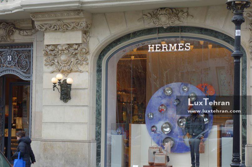 تصویر ویترین هرمس در خیابان شانزلیزه پاریس