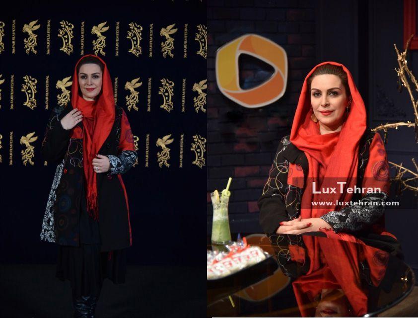 تیپ قرمز رنگ و لاکچری ماه چهره خیلیلی، هنرپیشه سینمای ایران در حاشیه سی و ششمین جشنواره فیلم فجر