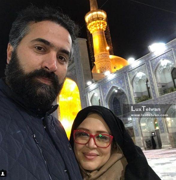 سلفی بهاره رهنما و همسرش در آستان قدس رضوی