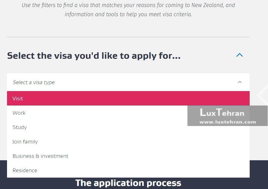 منو آبشاری در سایت اداره مهاجرت نیوزلند