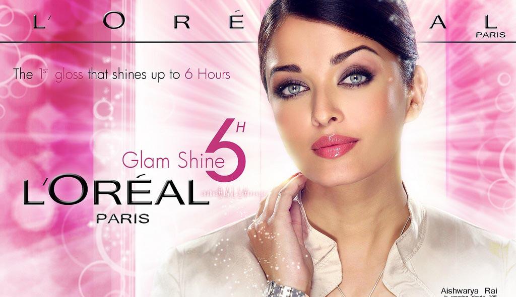 تبلیغ آیشواریا برای رژ لب های شش ساعته درخشان l'OREAL