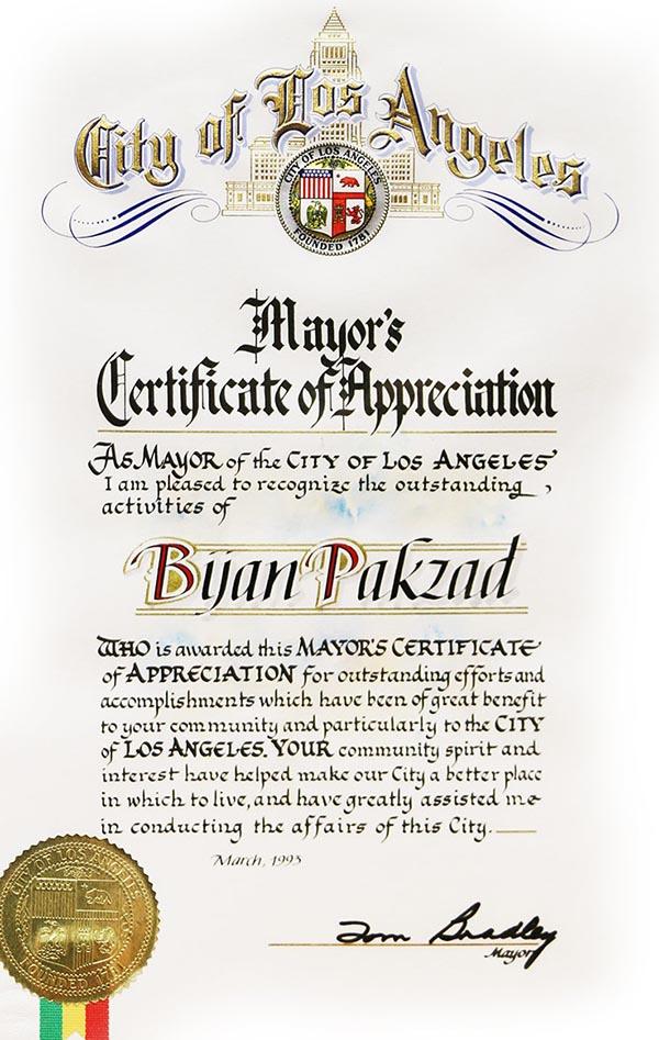تقدیرنامه شهردار شهر لس آنجلس از بیژن پاکزاد