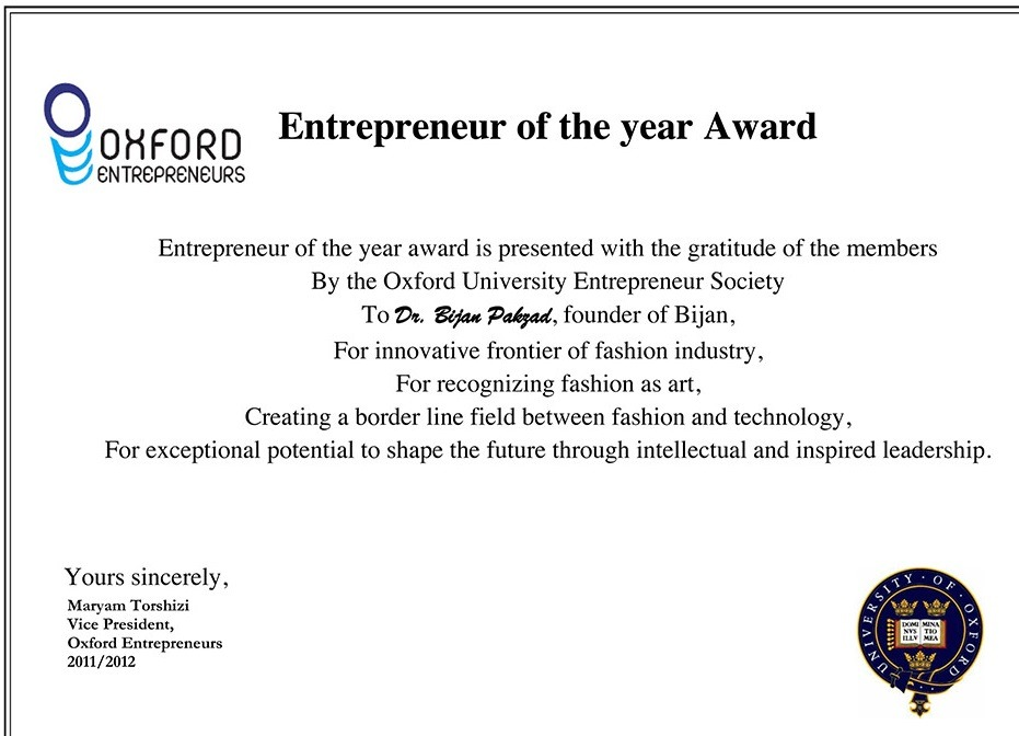 کارآفرین برتر سال ۲۰۱۲بیژن پاکزاد