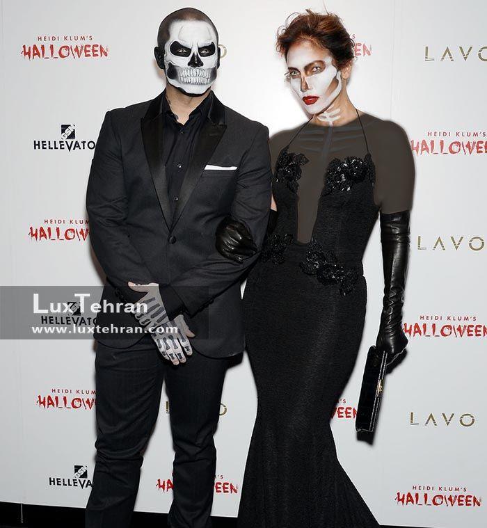 استایل اسکلتی جنیفر لوپز و کاسپر اسمارت در جشن هالووین