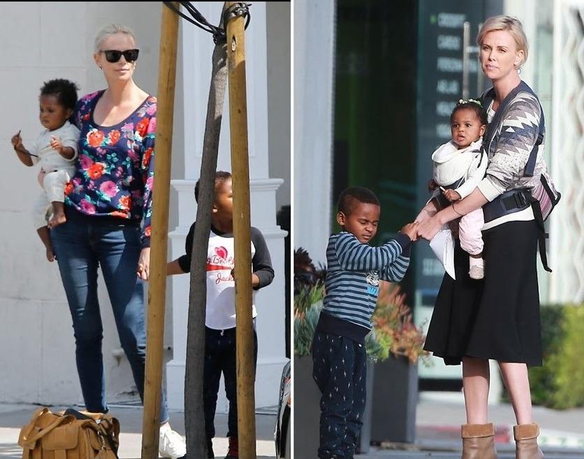 شارلیز ترون و پسرش جکسون و دخترش آگوست