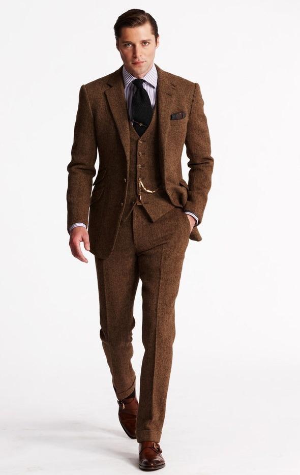 مدل کت و شلوار دامادی قهوه ای رنگ