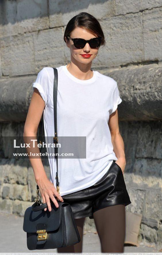 ترند چرم مشکی و تی شرت سفید رنگ بانوان