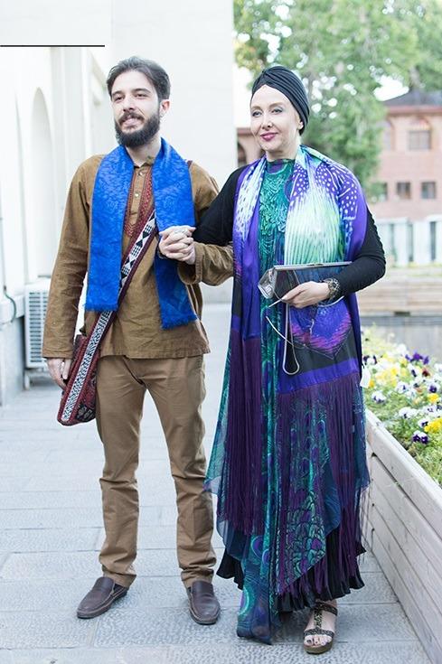 مدل مانتو مجلسی شیک کتایون ریاحی در کنار پسرش