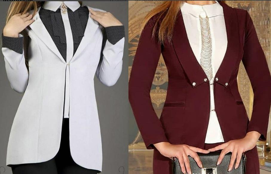 کت و شلوار های مجلسی دخترانه طرح دار تک دکمه
