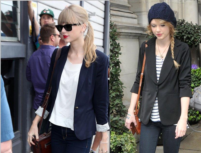کت سورمه ای و شلوار جین به سبک تیلور سویفت