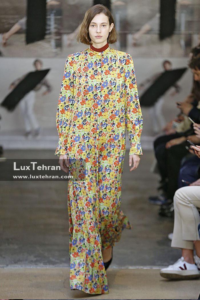 طرح ساده گل دار پوشیده و بلند زنانه که در هفته مد پاریس