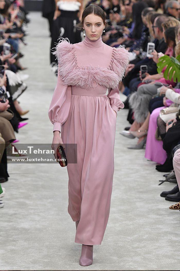 رنگ صورتی بسیار ملایم لباس بلند در هفته مد پاریس