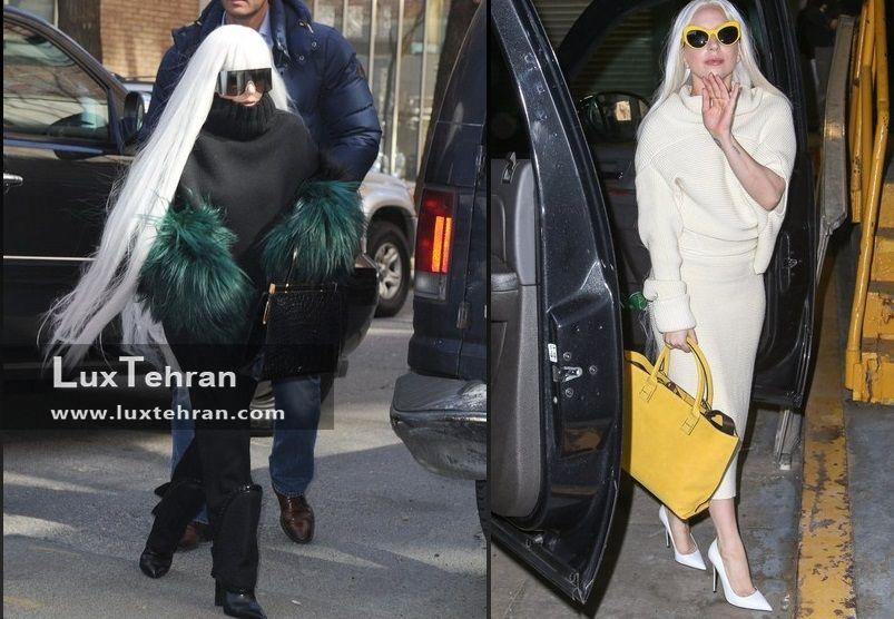 استایل های عجیب لیدی گاگا با دو نمونه کیف دستی چرمی