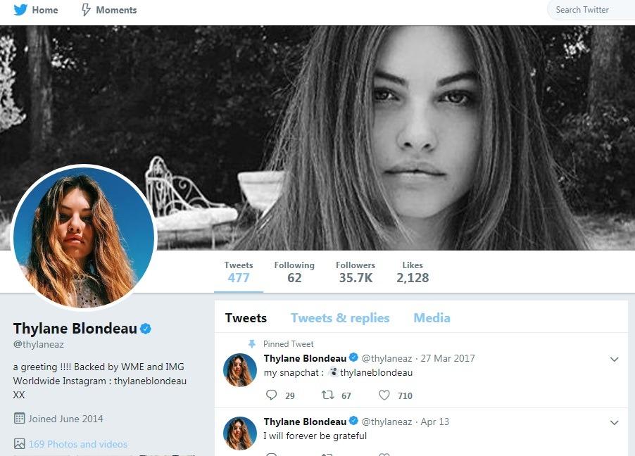 تایلن بلوندو در سپتامبر ۲۰۱۴ میلادی وارد توییتر شد