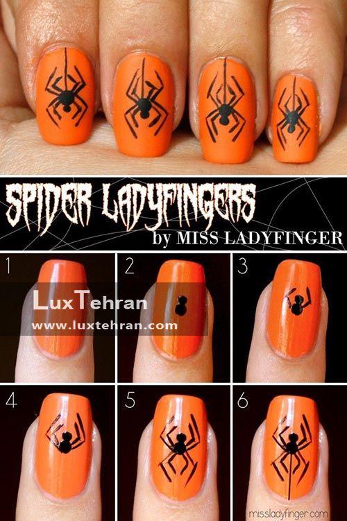 طراحی ناخن عنکبوتی مخصوص جشن هالووین