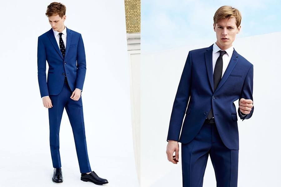 طرح کت و شلوار آبی رنگ دو دکمه زارا